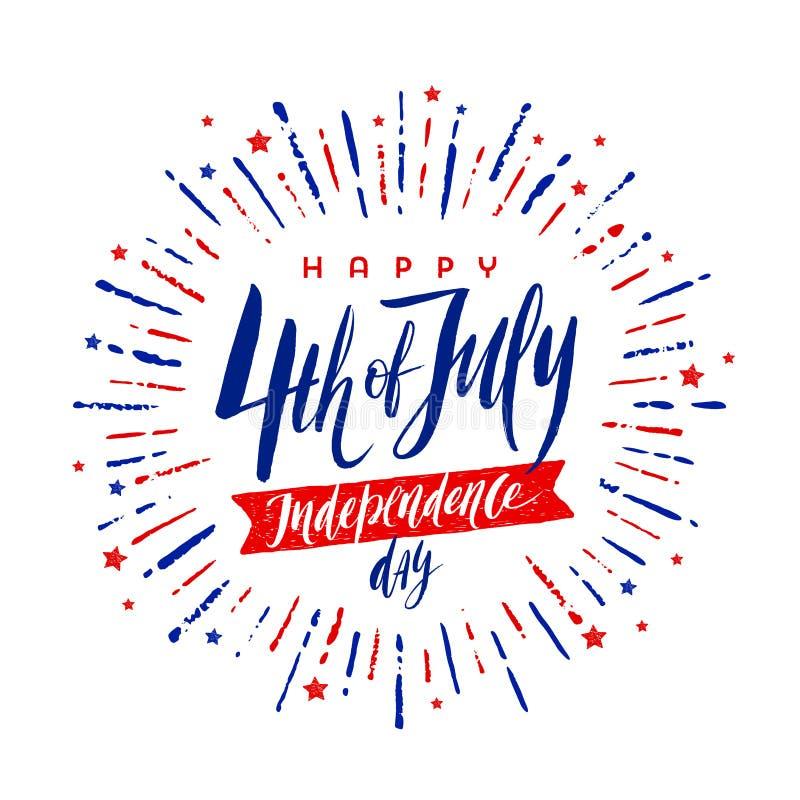 4-ое -го июль, День независимости - дизайн приветствию с рукописной каллиграфией и фейерверком щетки разрывал лучи бесплатная иллюстрация
