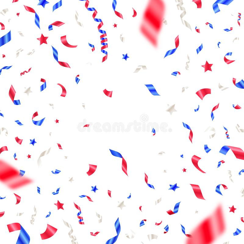 4-ое -го июль, День независимости - confetti цветов США патриотический Белизна, красные и голубые падая ленты и звезды иллюстрация штока