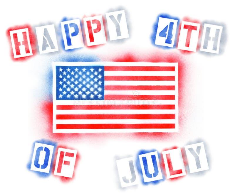4-ое -го июль с американским флагом в предпосылке восковки краски для пульверизатора бесплатная иллюстрация