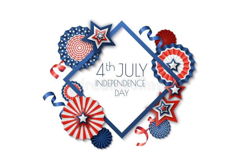 4-ое -го июль, День независимости США Рамка праздника вектора изолированная на белой предпосылке Бумажные звезды в цветах флага С бесплатная иллюстрация