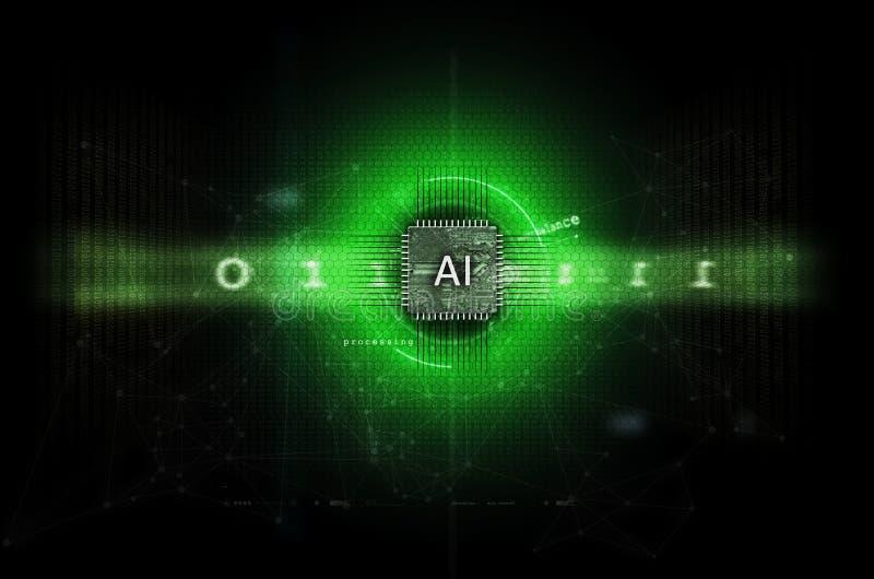 Ое-зелен иллюстрации искусственного интеллекта и машинного обучения темное стоковая фотография