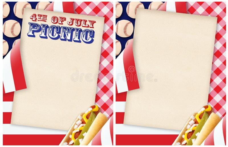 4-ое из приглашения пикника в июле стоковое изображение