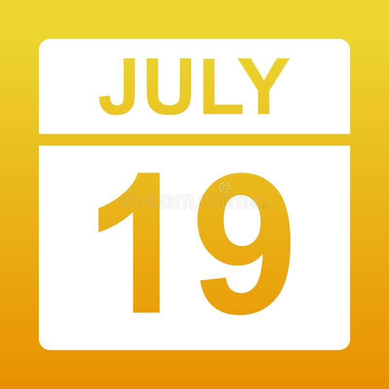 19-ое июля Белый календарь на покрашенной предпосылке День на календаре r иллюстрация вектора