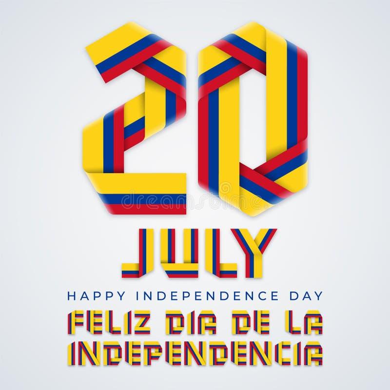 20-ое июля, дизайн Дня независимости Колумбии поздравительный с колумбийскими цветами флага r иллюстрация штока