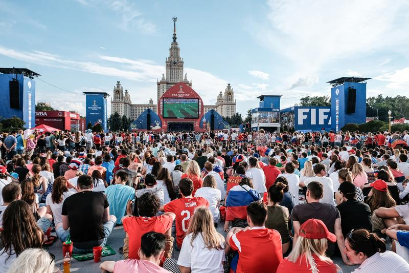 1-ое июля 2018, Москва, Россия Русские сторонники празднуют стоковое изображение