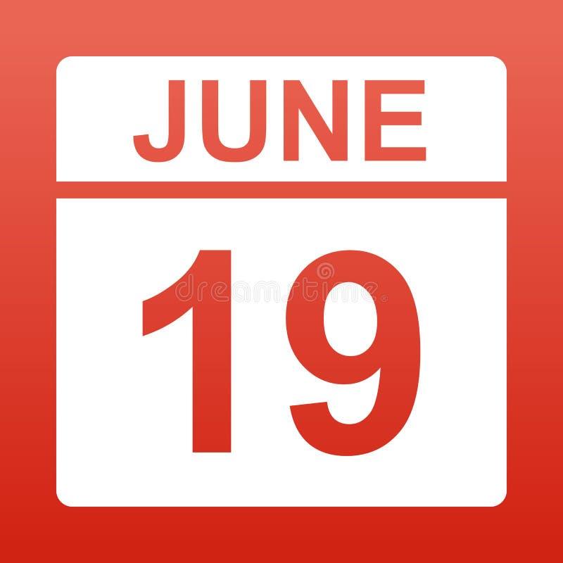 19-ое июня Белый календарь на покрашенной предпосылке День на календаре r иллюстрация штока