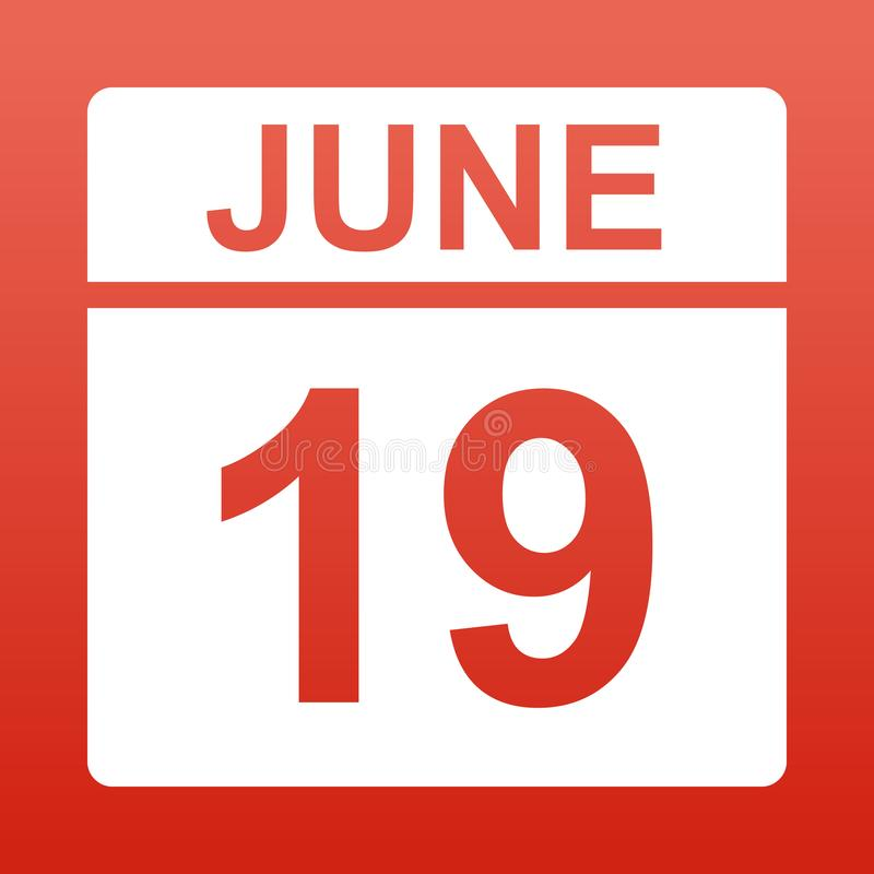 19-ое июня День на календаре иллюстрация штока