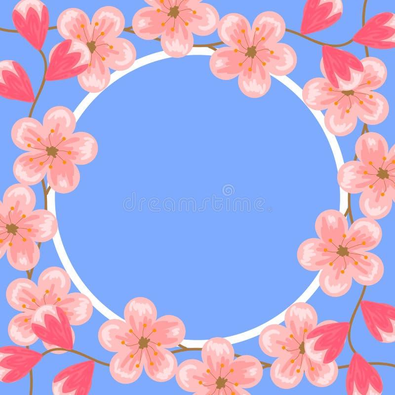 8-ое марта женщины международного красного штемпеля дня предпосылки белые Цветения вишни Розовые цветки Шаблон дизайна для поздра иллюстрация штока