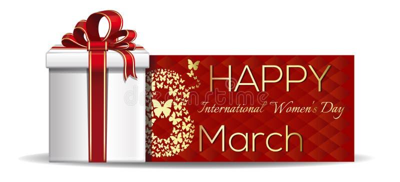 8-ое марта - карточка Международного женского дня иллюстрация вектора