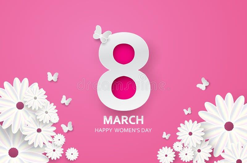 8-ое марта мать s дня счастливая Бабочка отрезка бумаги с предпосылкой праздника цветка бесплатная иллюстрация