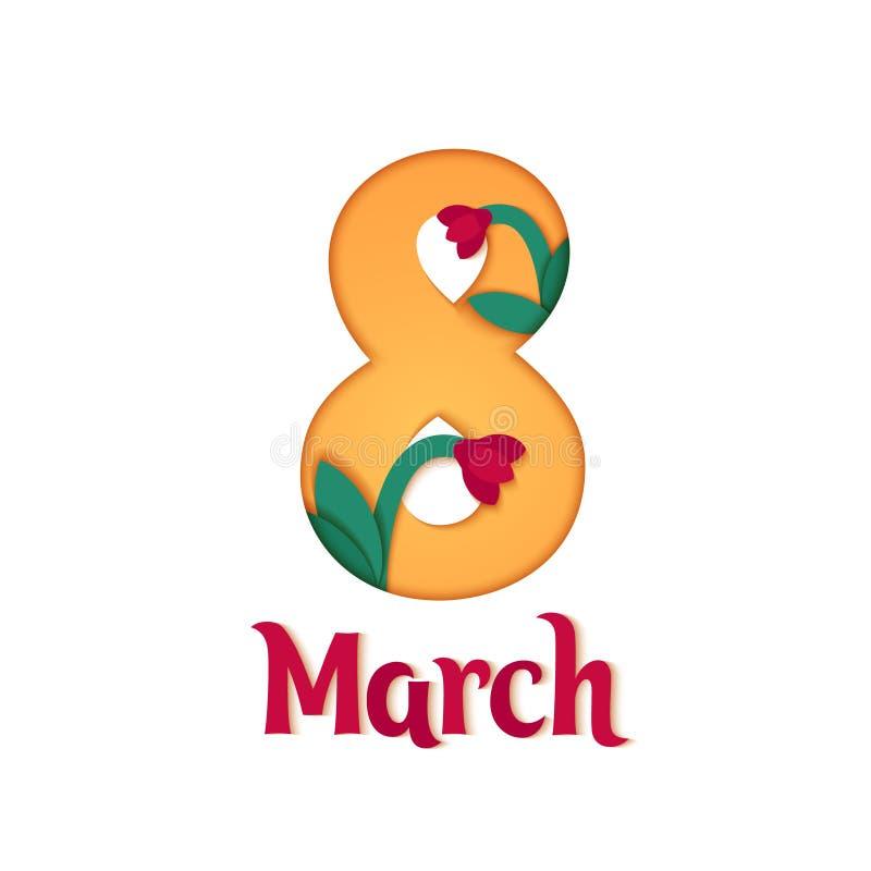 8-ое марта мать s дня счастливая Отрезанная бумагой флористическая поздравительная открытка Предпосылка цветка Origami бесплатная иллюстрация