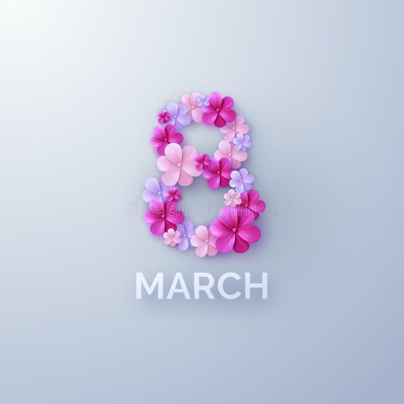 8-ое марта Международный женский день иллюстрация вектора