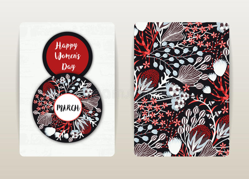 8-ое марта Счастливый день ` s женщин Праздник весны Дизайн карточки с цветочным узором Цветки нарисованные рукой творческие иллюстрация штока