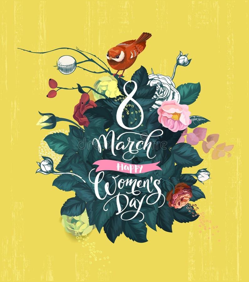 8-ое марта, счастливый день ` s женщин Рукописная литерность, куст с толстой зеленой листвой, пестротканые розовые цветки и малый бесплатная иллюстрация