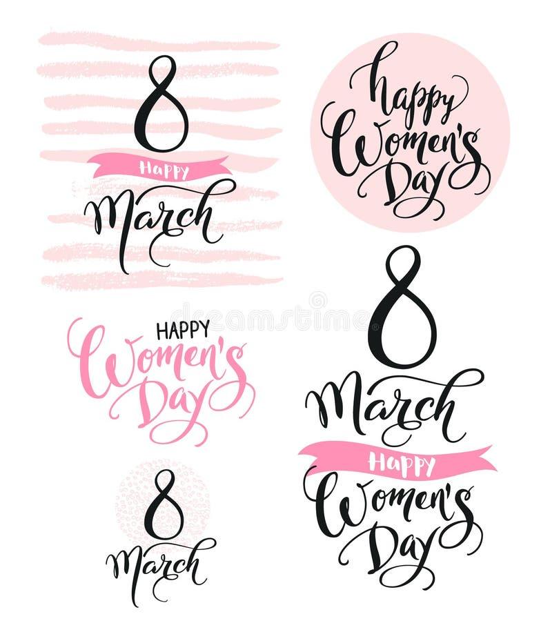 8-ое марта Счастливый день ` s женщин Собрание красивых рукописных слов и нарисованных рукой элементов в розовом цвете вектор бесплатная иллюстрация