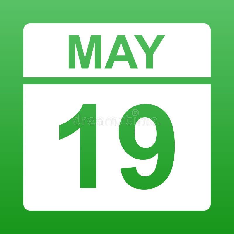 19-ое мая Белый календарь на покрашенной предпосылке День на календаре r бесплатная иллюстрация
