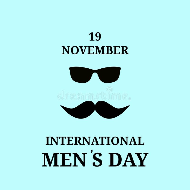 19-ое ноября Счастливый международный день людей Черные усик и стекла, изолированный вектор, бесплатная иллюстрация