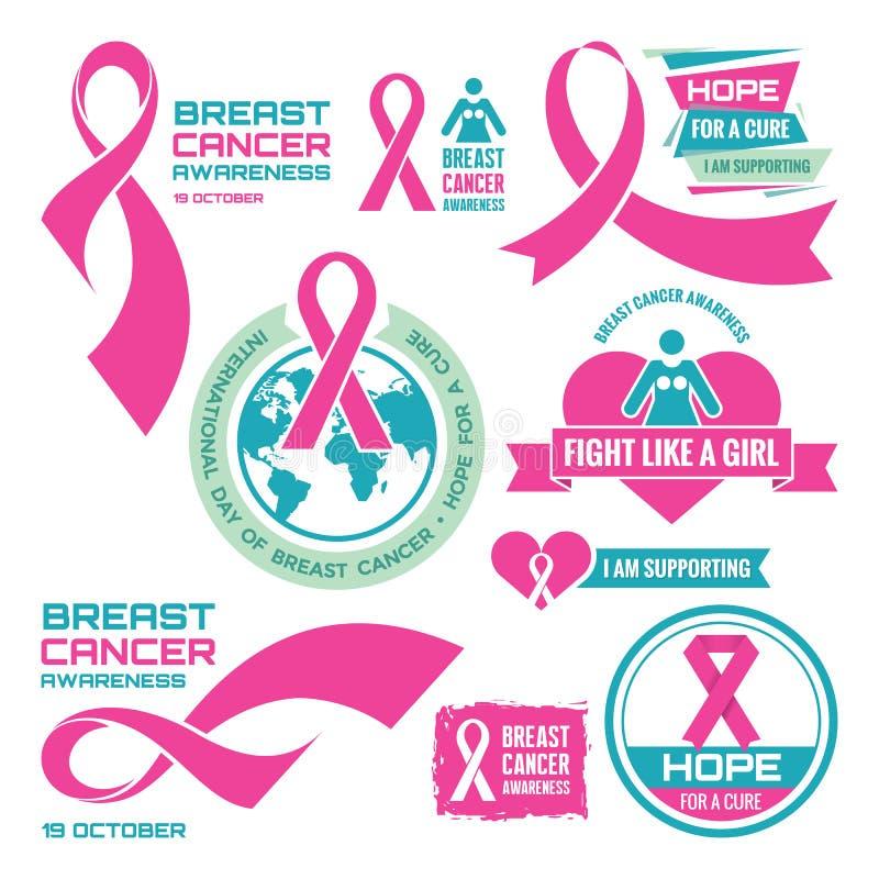 19-ое октября - международный день рака молочной железы - творческие установленные значки вектора Осведомленность рака молочной ж иллюстрация вектора
