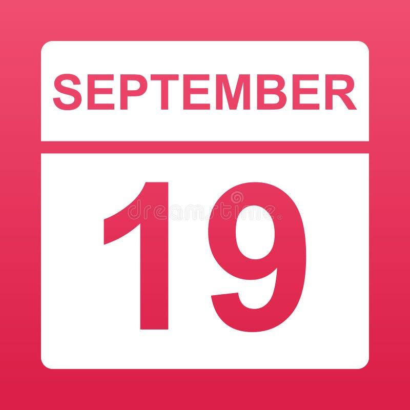 19-ое сентября Белый календарь на покрашенной предпосылке День на календаре Девятнадцатое -го сентябрь r иллюстрация вектора