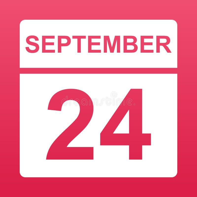 24-ое сентября Белый календарь на покрашенной предпосылке День на календаре Двадцать четвертое -го сентябрь r иллюстрация вектора