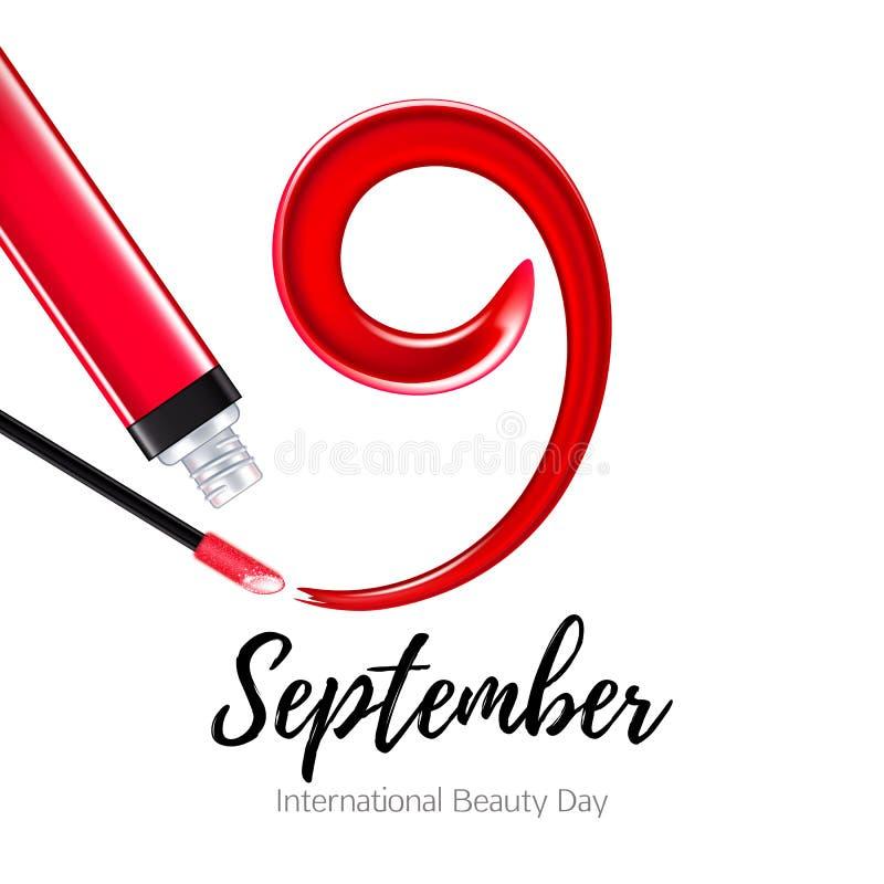 9-ое сентября - международный день красоты Красный лоск мазка и губы иллюстрация вектора