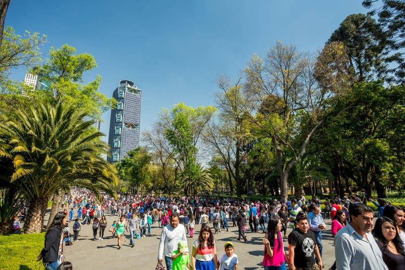 22-ое января 2017 Люди идя в парк Chapultepec, Мехико стоковое изображение