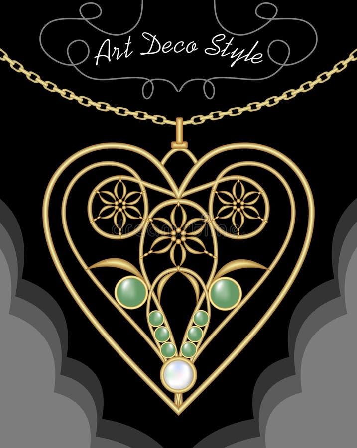 Ожерелье золотого стиля Арт Деко филигранное, шкентель в форме сердца с цветками и зеленые самоцветы на точной золотой цепи, анти иллюстрация штока