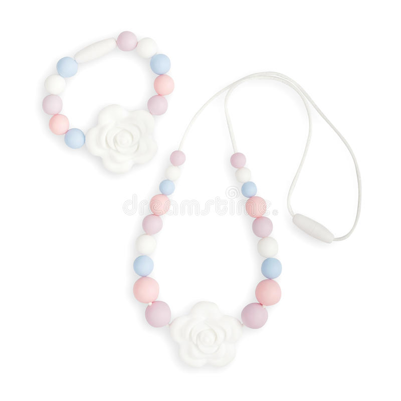 Ожерелье прорезывания зубов младенца, ожерелье кормящей матери шариков и дети забавляются стоковые изображения