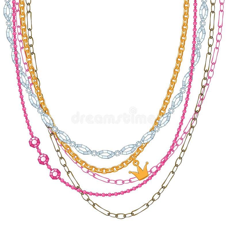 Ожерелье с цепями и драгоценными камнями стоковое фото rf