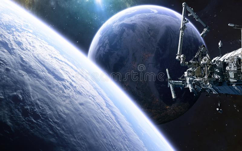 Оживленная планета, космическая станция в глубоком космосе Научная фантастика иллюстрация штока
