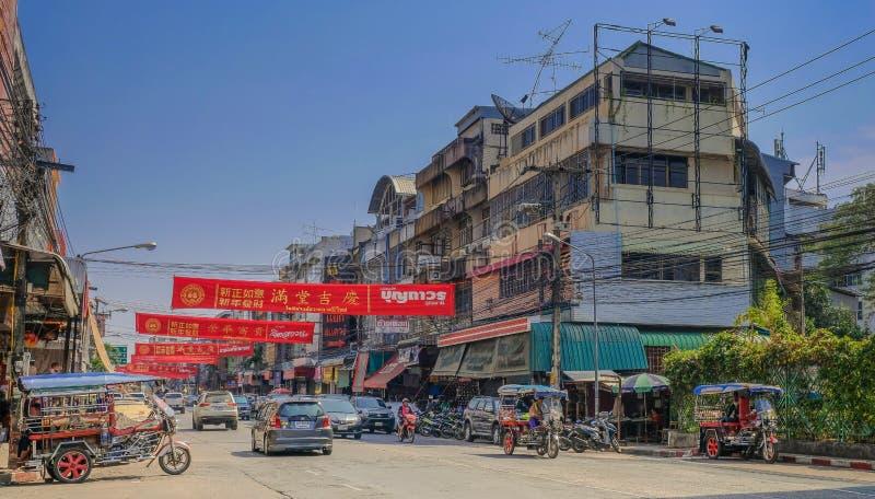 Оживленные улицы в Udon Thani стоковое фото