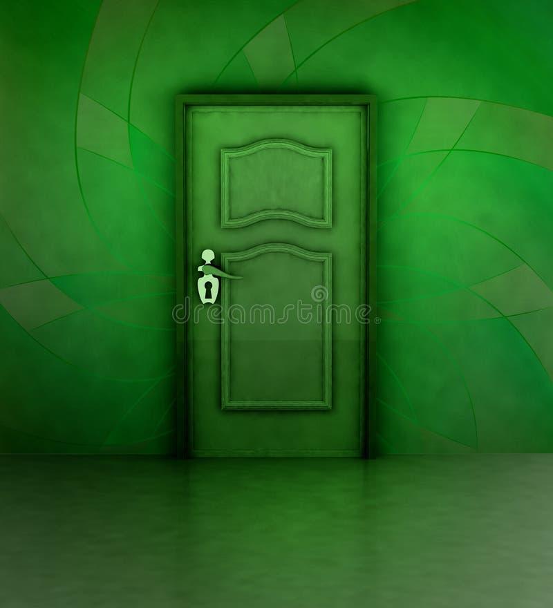 Ожиданность за зеленой флористической покрашенной стеной иллюстрация вектора