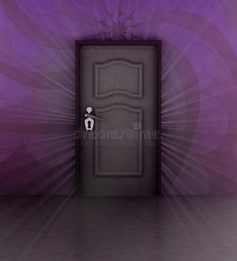 Ожиданность за лиловой стеной и закрытой дверью иллюстрация штока