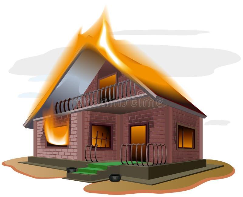 Ожога дома кирпича Огонь коттеджа Загородный дом Свойство insurance иллюстрация штока