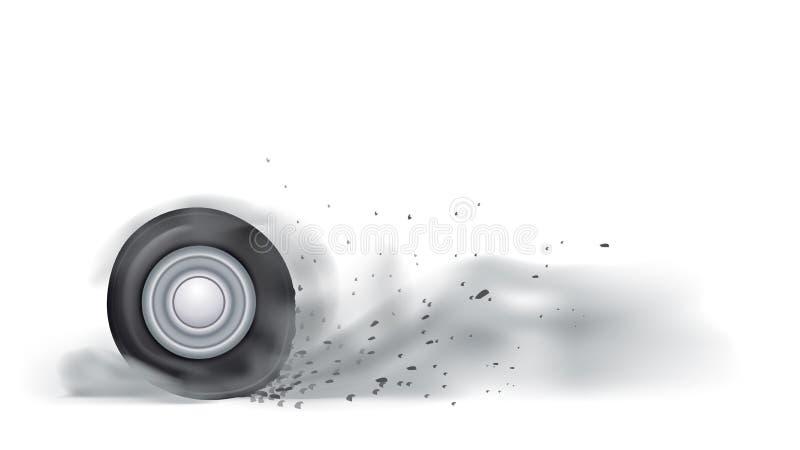 Ожог колеса вне иллюстрация штока