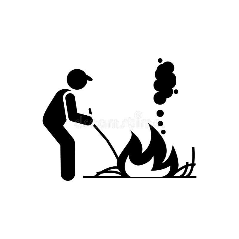 Ожог, огонь, трава, значок засорителя Элемент садовничая значка r r иллюстрация вектора