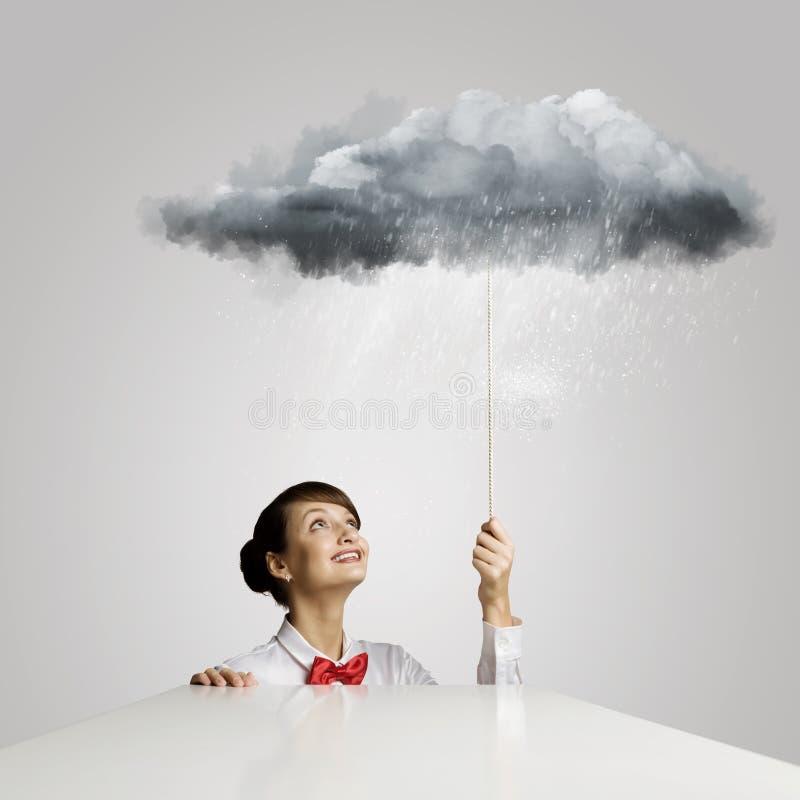 Download дождь под женщиной стоковое фото. изображение насчитывающей менеджер - 41650830