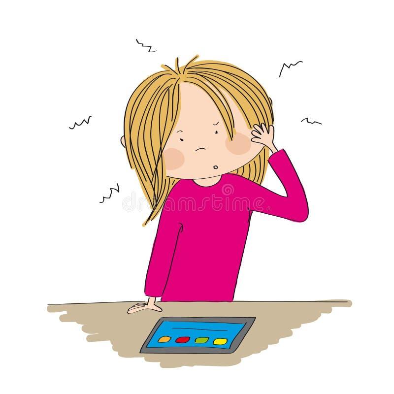 Озадаченная молодая женщина смотря таблетку иллюстрация штока