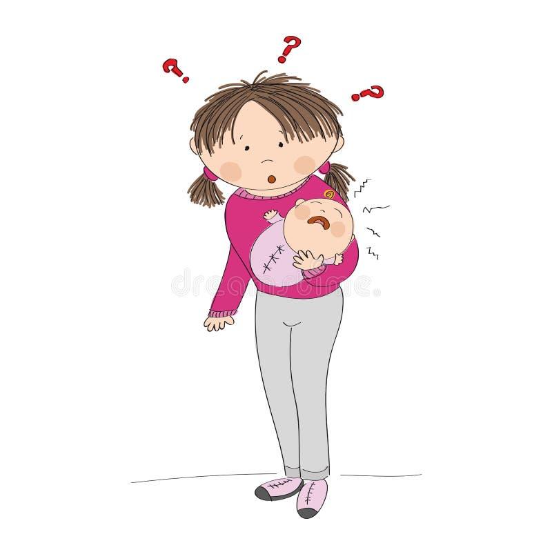 Озадаченная молодая мать держа ее плача ребёнок Что, который нужно сделать? иллюстрация штока