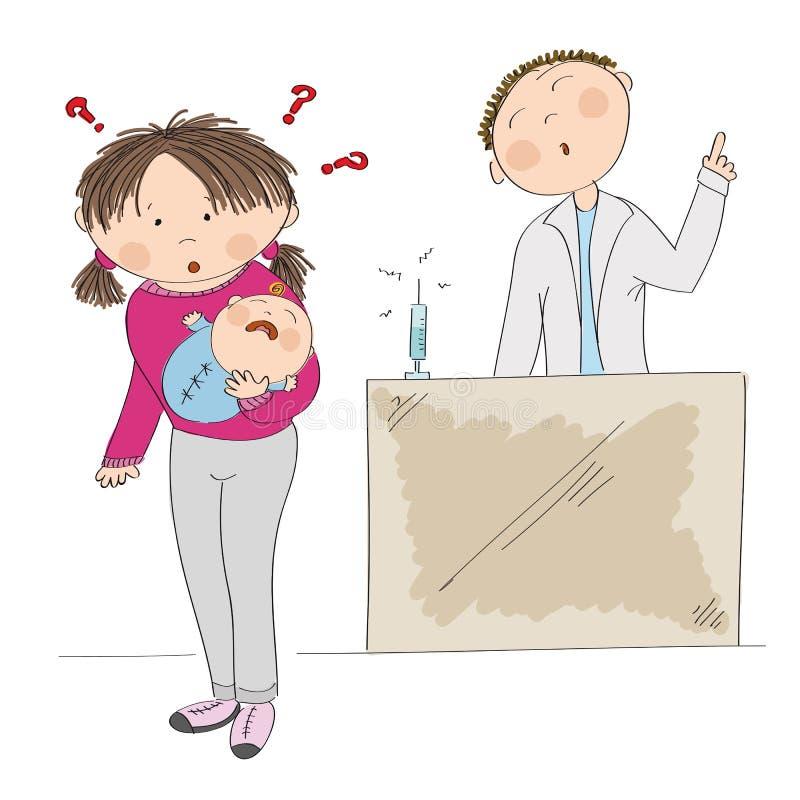 Озадаченная молодая мать держа ее ребёнок Вакцинируйте или не? иллюстрация штока