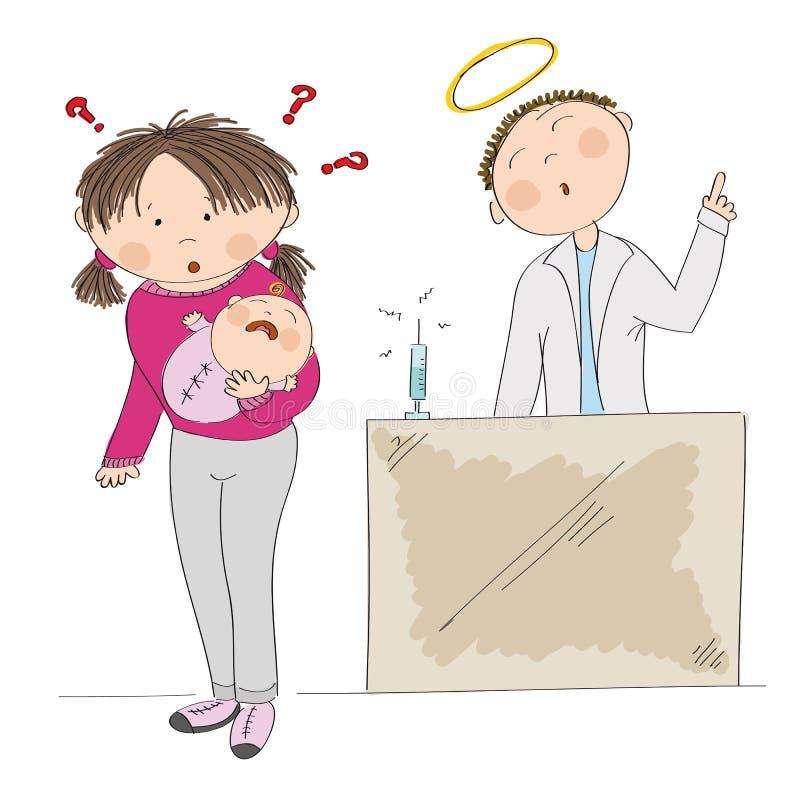 Озадаченная молодая мать держа ее ребёнок Вакцинируйте или не? иллюстрация вектора