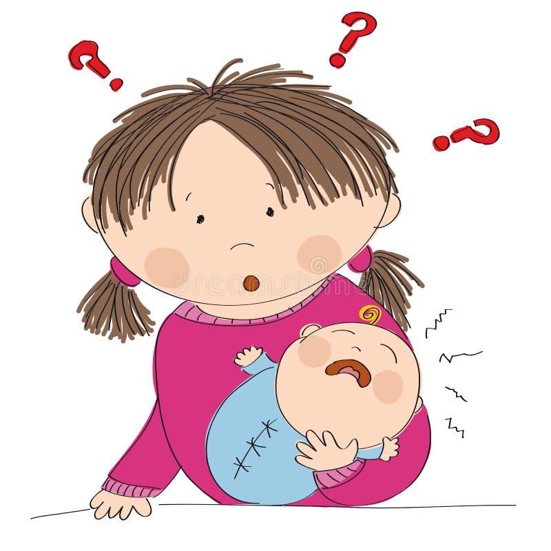 Озадаченная молодая мать с плача ребёнком Что, который нужно сделать? иллюстрация вектора