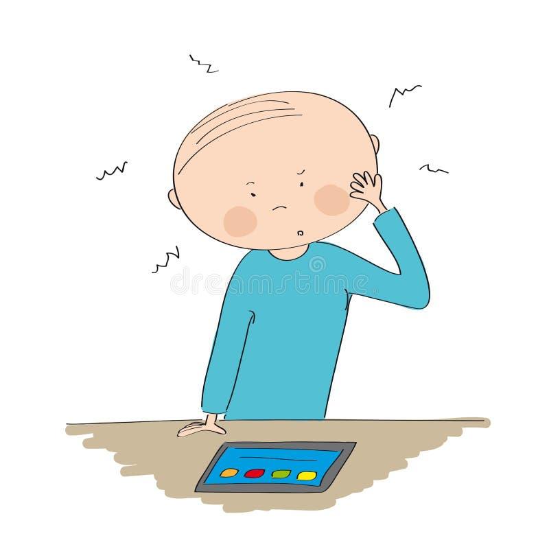 Озадаченный молодой человек смотря таблетку иллюстрация вектора