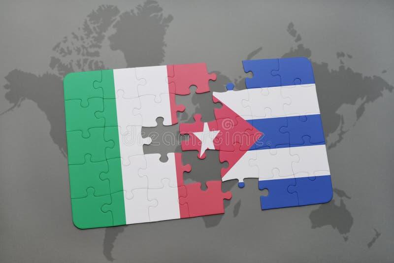 озадачьте с национальным флагом Италии и Кубы на предпосылке карты мира иллюстрация вектора