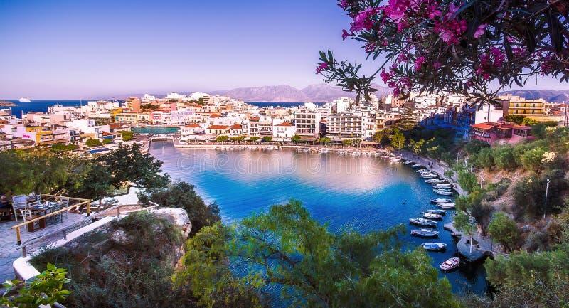 Озеро ажио Nikolaos, Крита, Греции стоковые фотографии rf