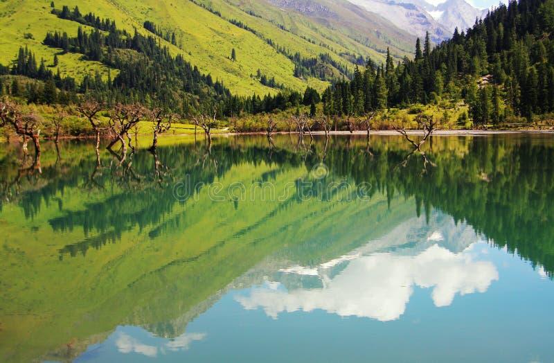 Озеро в горе Siguniang стоковое изображение rf
