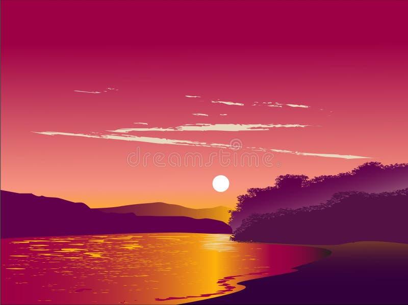 Озеро в заходе солнца иллюстрация штока