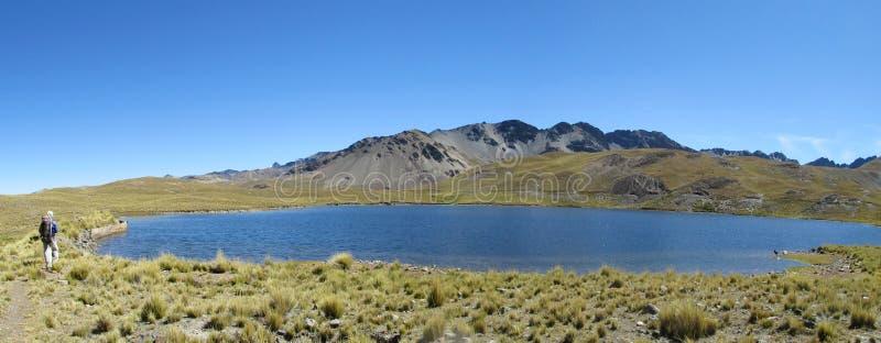 Озеро горы Backpacker туристское близко стоковое изображение rf
