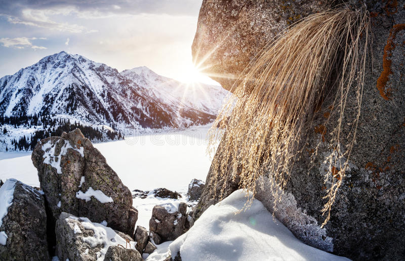 Озеро гор зимы стоковое фото rf