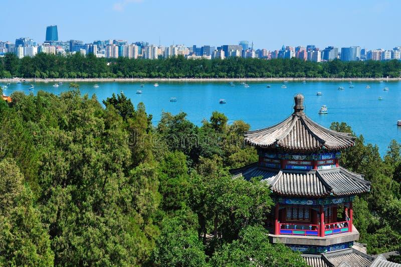 Озеро дворц лета городского пейзажа- Пекин стоковое изображение rf